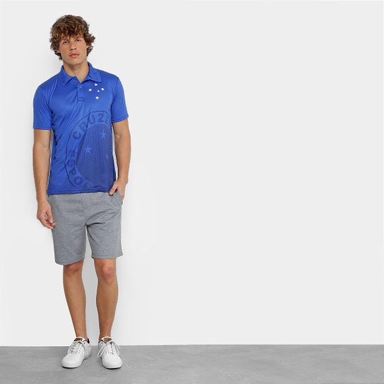 16460b87649cb Camisa Polo Cruzeiro Shadow Estampa Masculina - Azul   Netshoes