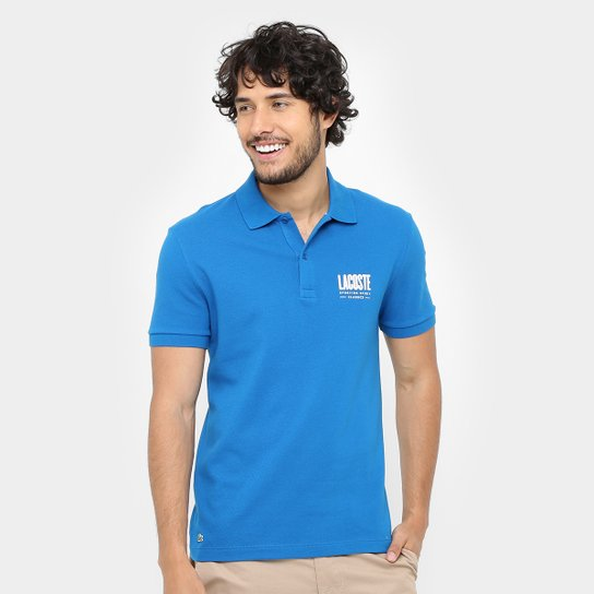 296426554 Camisa Polo Lacoste Piquet Regular Fit Print Logo Masculina - Compre ...