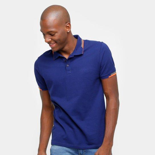 a49521b2b Camisa Polo Calvin Klein Friso Duplo Logo Relevo Masculina - Azul ...