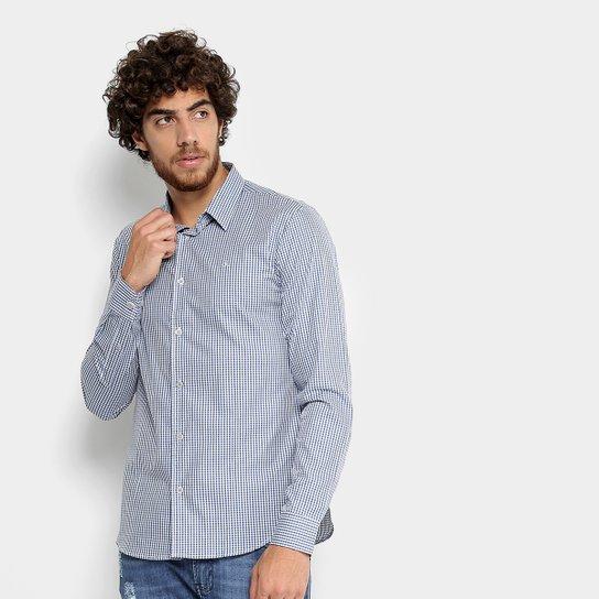 ef2142198f Camisa Calvin Klein Slim Xadrez Masculina - Azul - Compre Agora ...