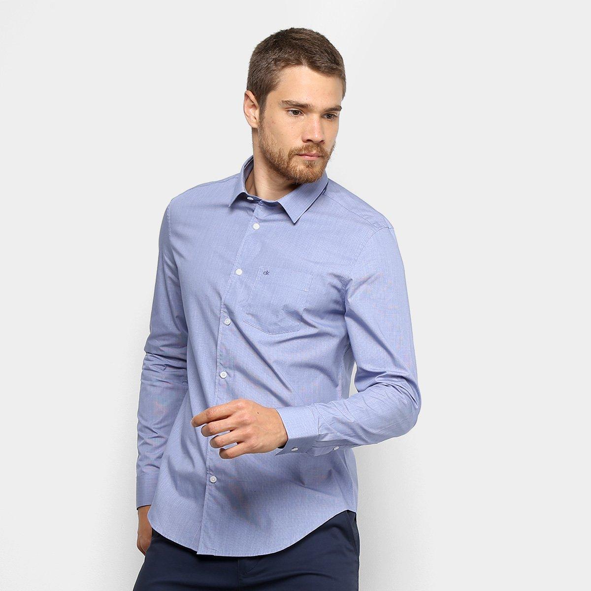 Camisa Calvin Klein Slim Manga Longa Masculina a3405b8e1a749