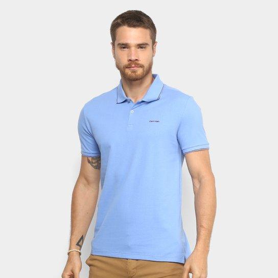 4355916603429 Camisa Polo Calvin Klein Slim Masculina - Azul - Compre Agora