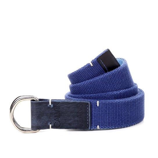 c1ea2ea2fd Cinto Calvin Klein Lona Ponteira Couro Masculino - Azul | Netshoes