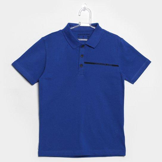 Camisa Polo Infantil Calvin Klein Masculina - Azul - Compre Agora ... 023daeb3783