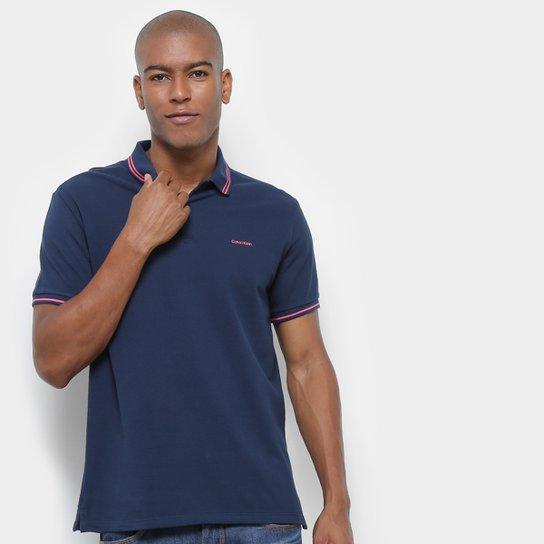 eb3c62c19 Camisa Polo Calvin Klein Básica Masculina - Azul - Compre Agora ...