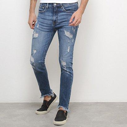 Calça Jeans Skinny Calvin Klein Rasgos Barra Desfiada Masculina