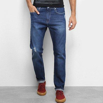 Calça Jeans Slim Calvin Klein Estonada Puídos Masculina