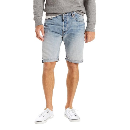 93d23bd5a Bermuda Jeans Levis 501 Original Cut Off Pride Media Masculina - Azul