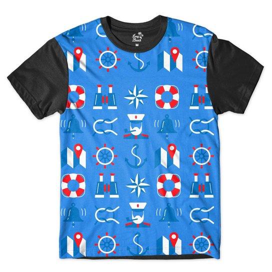 Camiseta Long Beach Náutica Boiá e Marinheiro Sublimada Masculina -  Azul+Preto 29d778b0da