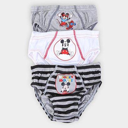 Kit Cueca Infantil Lupo Disney Mickey 3 Peças