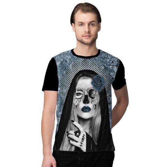 9322c60614a57 Camiseta Stompy Catrina Skull Masculino - Azul e Preto - Compre ...