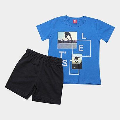 Conjunto Infantil Bee Loop Camiseta Malha Berm Moletinho Masculino
