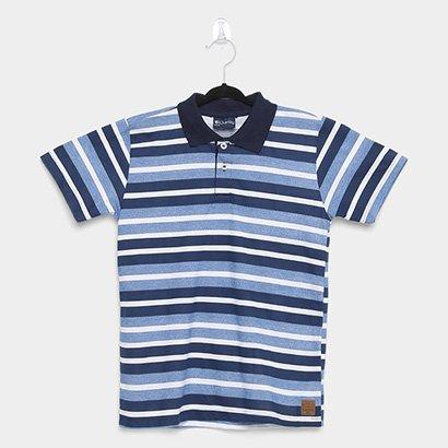 Camisa Polo Infantil Quimby Manga Curta Em Meia Malha Listrada Masculina
