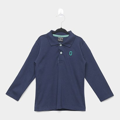 Camisa Polo Infantil Quimby Manga Longa Meia Malha Básica