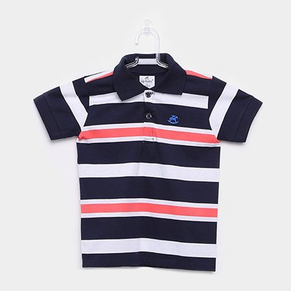 Camisa Polo Infantil Up Baby Malha Listrada Masculina