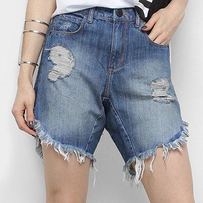 Bermuda Jeans Triton Comfort Puídos Barra Desfiada Feminina
