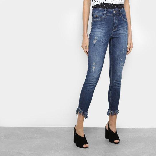f80ae14d5 Calça Jeans Cigarrte Colcci Bia Barra Desfiada Puídos Cintura Média Feminina  - Azul