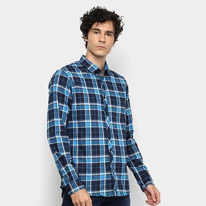 Camisa Xadrez Manga Longa Forum Super Slim Fit Masculina