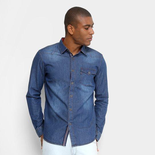 d9575c5c75 Camisa Jeans Broken Rules Manga Longa com Bolso Masculina - Azul ...