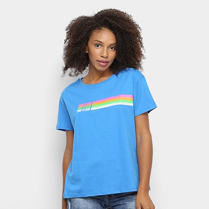 Camiseta Ellus 2nd Floor Listras Neon Feminina