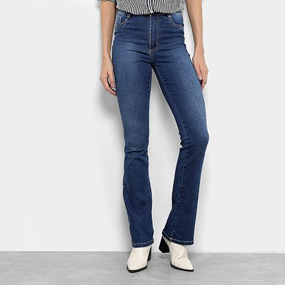 e5de395a2 Calça Jeans Flare Sawary Hot Pants Cintura Média Feminina