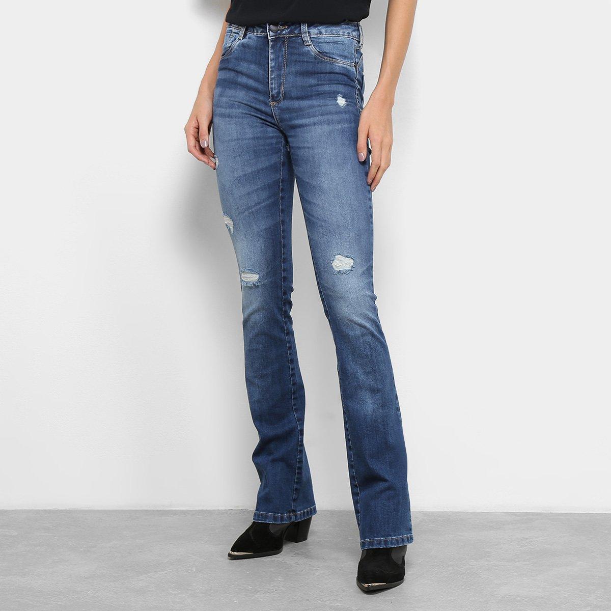 fc10a0bc2 Calça Jeans Flare Sawary Estonada Rasgos Cintura Alta Feminina. undefined