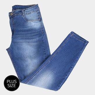 c88980873f Calça Jeans Cigarrete Sawary Estonada Cintura Alta Plus Size Feminina
