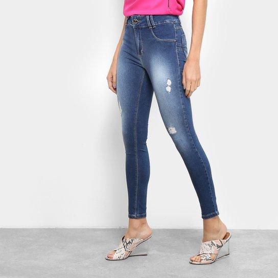 Calça Jeans Skinny Sawary Estonada Rasgos Cintura Média Feminina - Azul 7a983371443