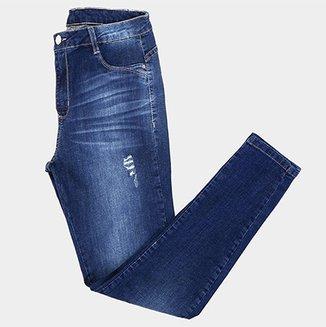 19f9b8be0 Calça Jeans Cigarrete Sawary Puídos Estonada Cintura Média Feminina