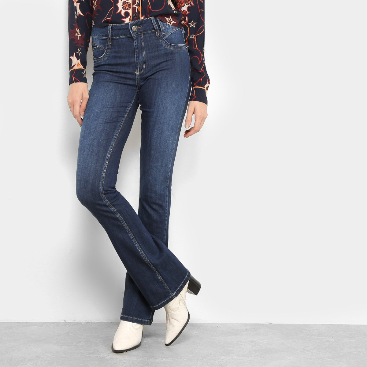 6e5337ad4 Calça Jeans Flare Sawary Levanta Bum Bum Estonada Cintura Média Feminina