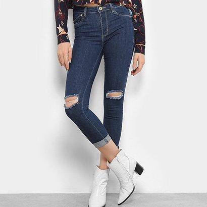 ca8f74532 Calça Jeans Skinny Sawary Ragos Joelho Barra Dobrada Cintura Média Feminina