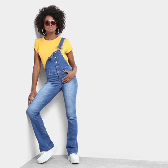 09d9b8653 Macacão Jeans Sawary Flare Feminino - Azul - Compre Agora | Netshoes