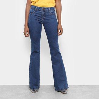 3b364032f9 Calça Jeans Flare Sawary Estonada Cintura Alta Feminina
