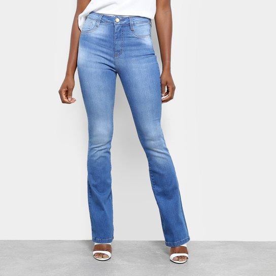 490af5dabc Calça Jeans Flare Sawary Estonada Cintura Alta Super Lipo Feminina - Azul