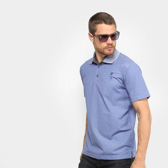 7d0b0997b1 Camisa Polo Aleatory Piquet Bolso Masculina - Azul