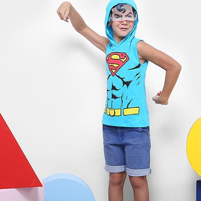 Regata Infantil Kamylus Superman Capuz Masculina
