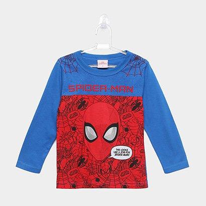 Camiseta Infantil Brandili Homem Aranha Manga Longa Masculina