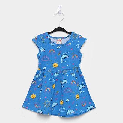 Vestido Infantil Brandili Golfinhos Manga Curta