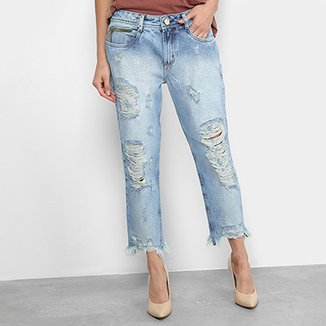 519bb4483f Calça Jeans Comfort Cropped Lança Perfume Destroyed Feminina