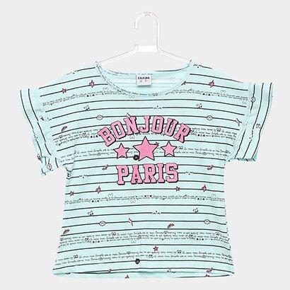 Blusa Infantil Fakini Estampa Bonjour Paris Feminina
