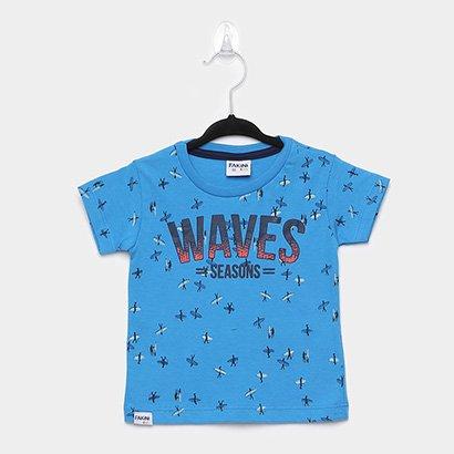 Camiseta Infantil Fakini Surf Manga Curta Masculina