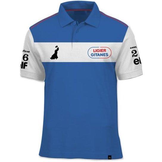 Camisa Polo Fórmula Retrô Ligier Gitanes JS11 1979 - Azul - Compre ... 1d2f38d25bc4a