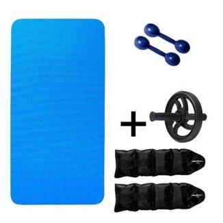 Kit Colchonete EVA Azul 20mm + Par Halter 1kg + Par Caneleira 2kg + Roda  Abdominal 6127ef1468817