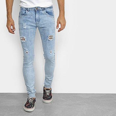 Calça Jeans Coffee Delavê Skinny Masculina
