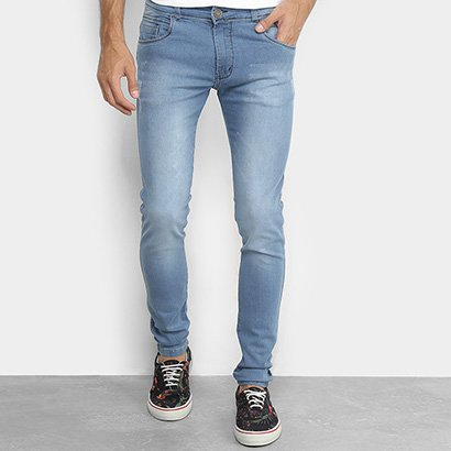 Calça Jeans Skinny Coffee Estonada Puídos Masculina