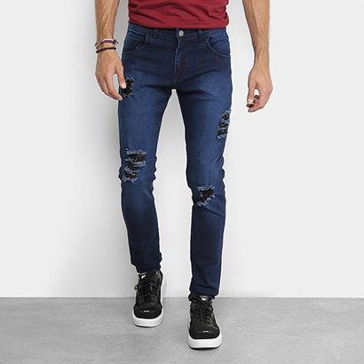Calça Jeans Coffee Escura Rasgo Skinny Masculina