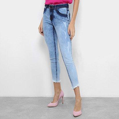 Calça Jeans Skinny Coffee Cintura Média Barra Desfiada Feminina
