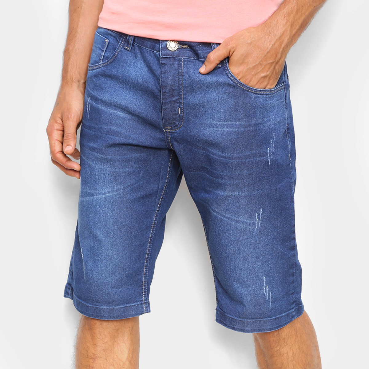 Bermuda Jeans Coffee Puídos Masculina