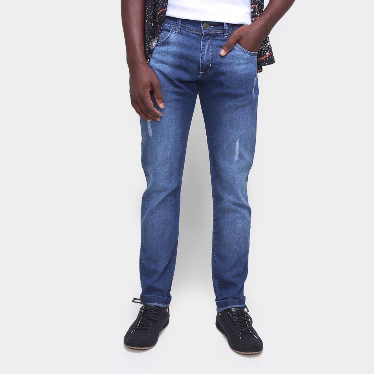 Calça Jeans Coffee Skinny Puídos Masculina