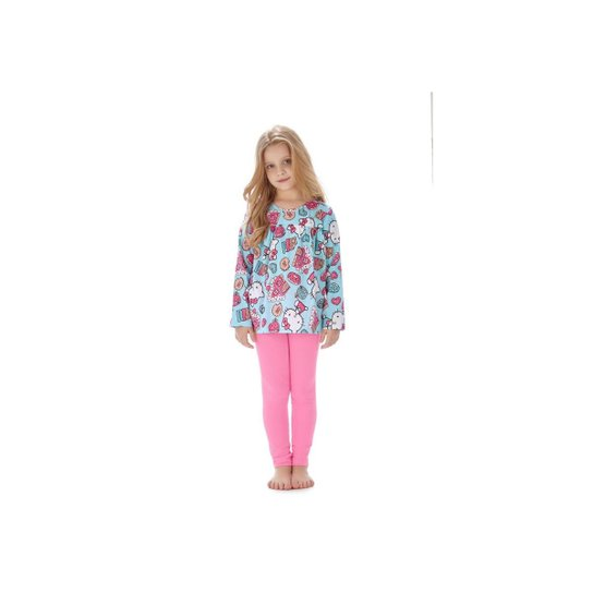 8bea66812d Pijama Manga Longa Infantil Hello Kitty Feminino - Azul - Compre ...